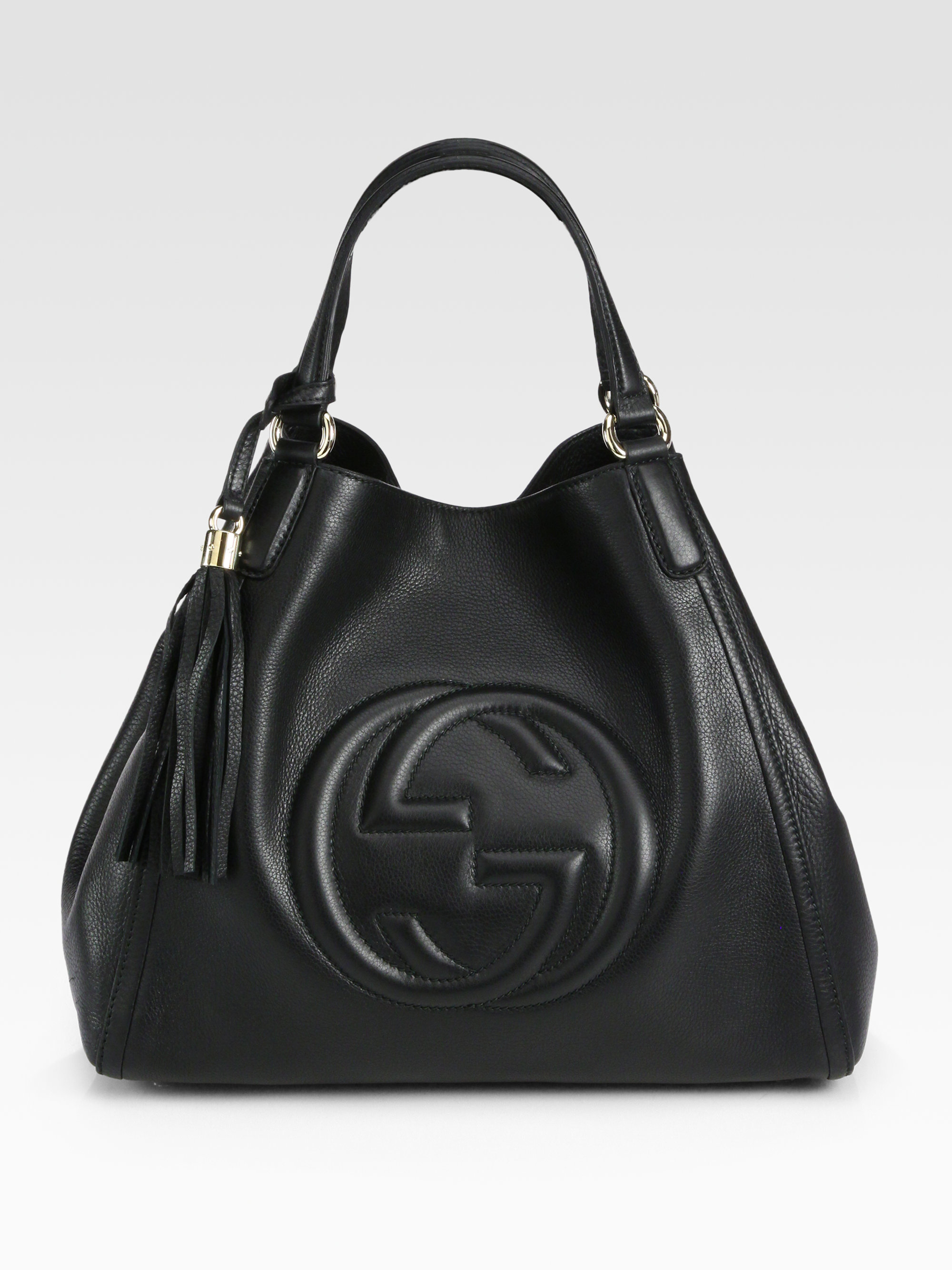 gucci soho medium hobo bag in black dark navy lyst. Black Bedroom Furniture Sets. Home Design Ideas