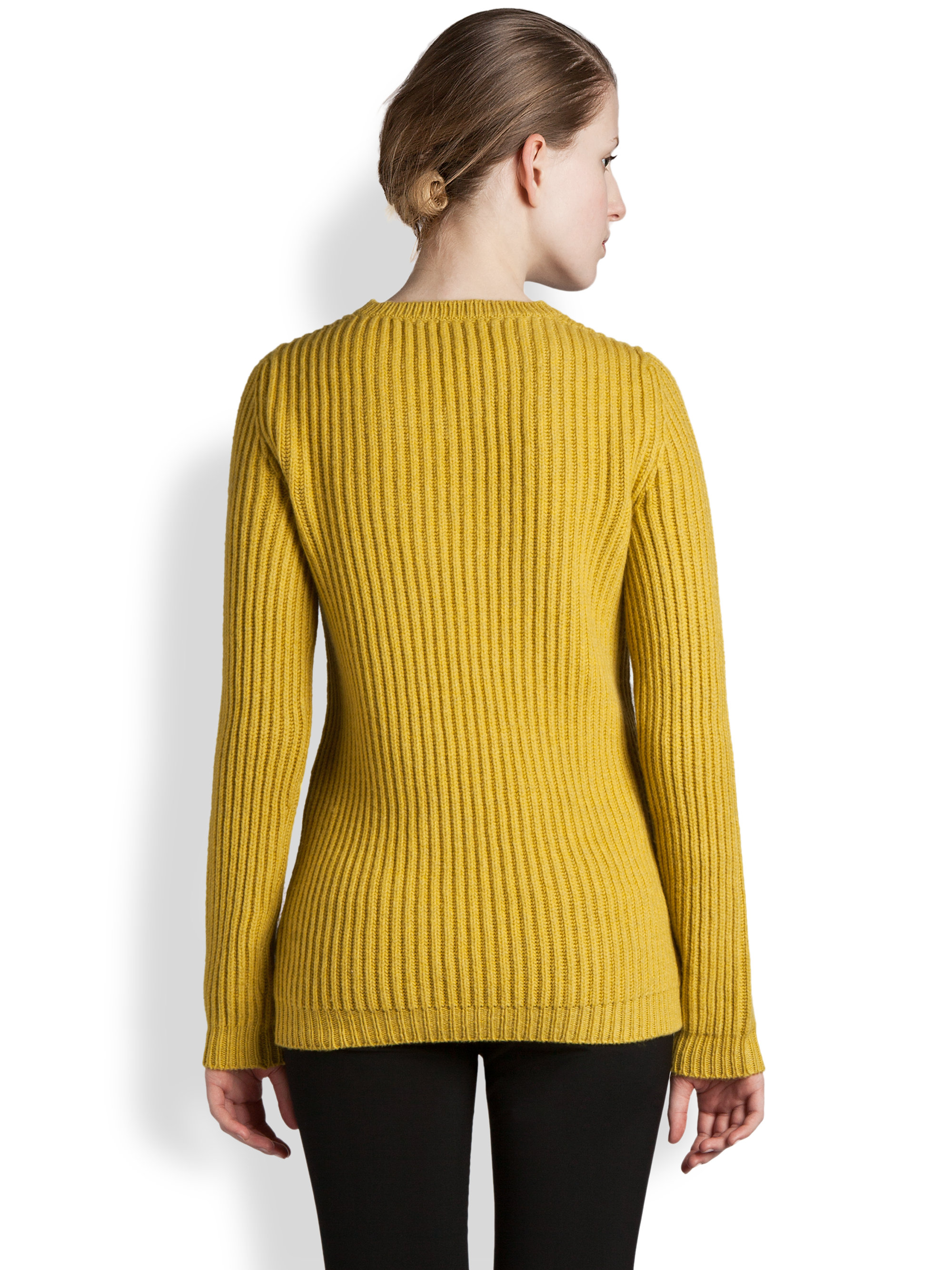 Jil sander Ribbed Wool Cashmere Sweater in Yellow | Lyst