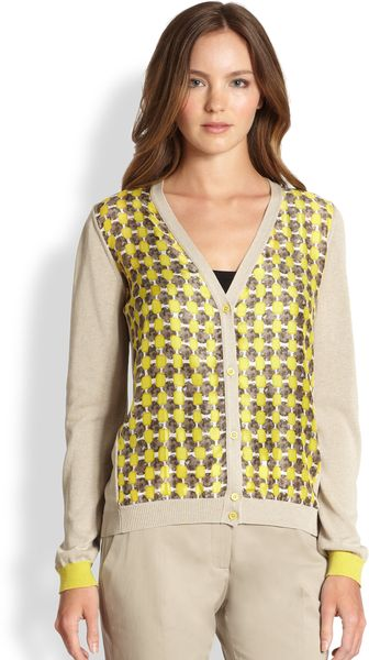 La Via 18 Printed Silkapplique Cardigan - Lyst