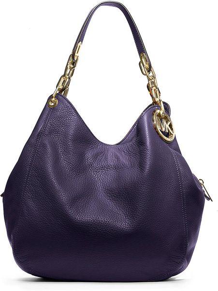 Michael Michael Kors Fulton Leather Shoulder Bag in Purple