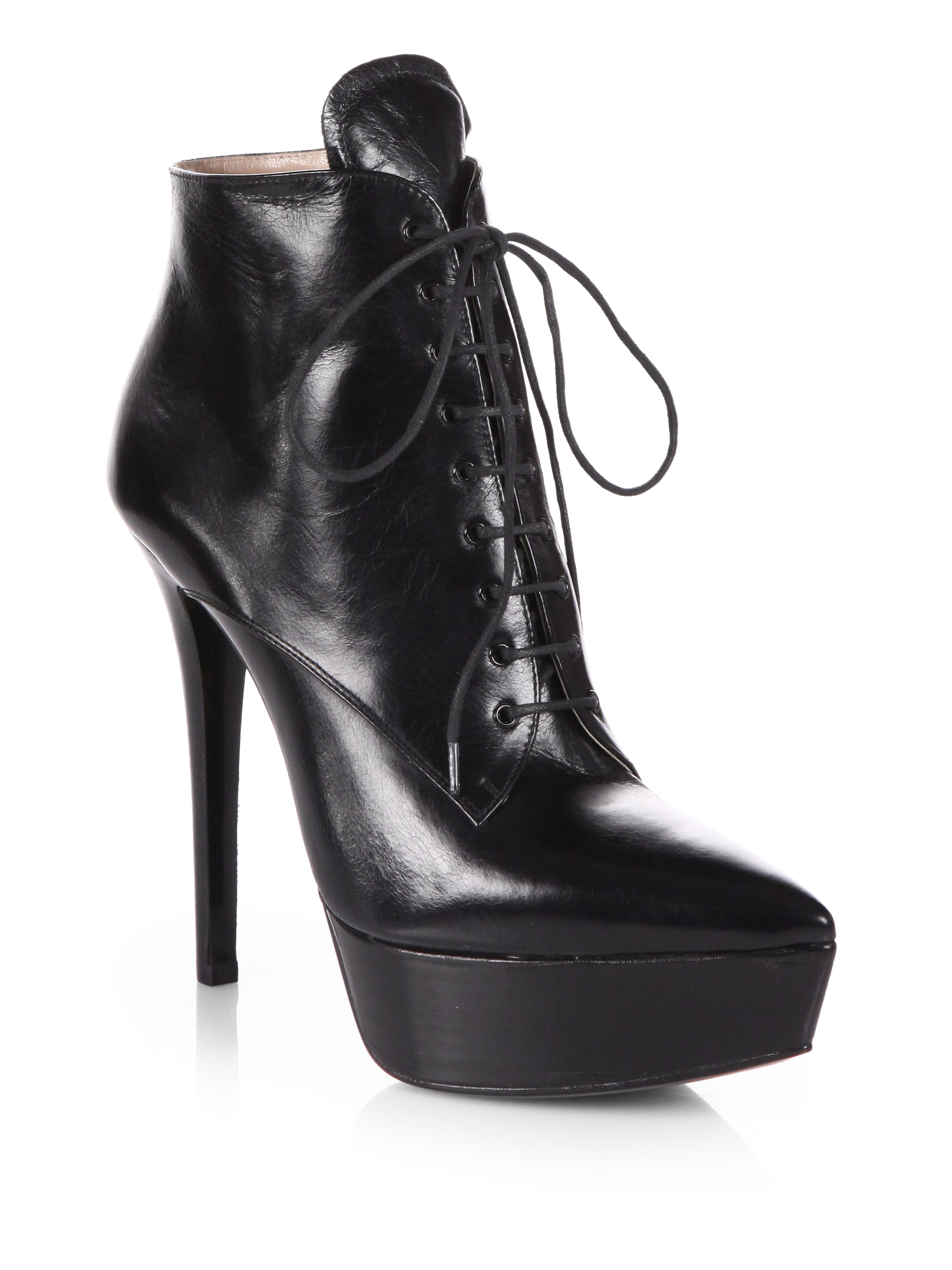 Prada Leather Laceup Platform Ankle Boots in Black (nero-black) | Lyst