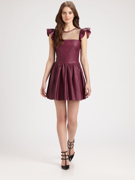 Red Valentino Lace Overlay Leather Dress in Purple (raspberry) - Lyst