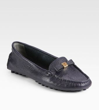 Tory Burch Ludlow Pebbled Leather Drivers - Lyst