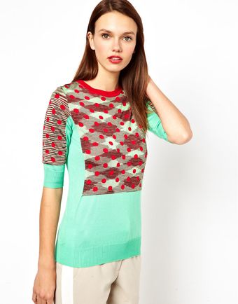 M Missoni Colourblock Polkadot Knitted Top - Lyst