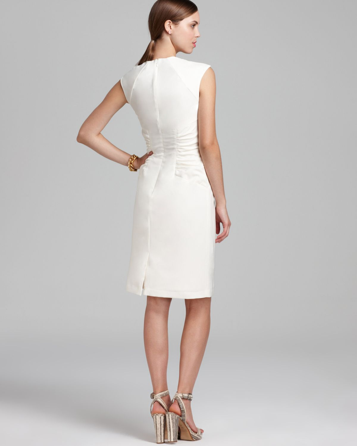 Adrianna papell Sheath Dress Cap Sleeve Side Ruched in White | Lyst