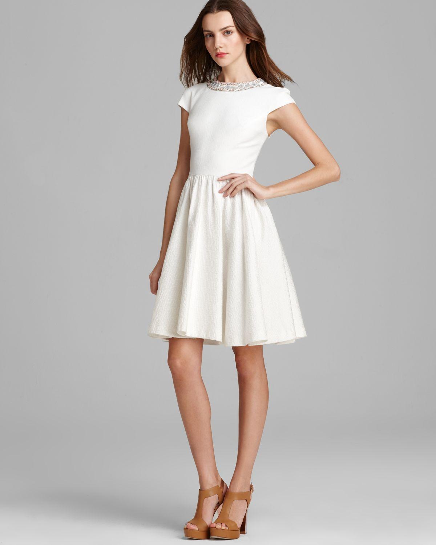 Badgley Mischka Dress Cap Sleeve Beaded Neckline in White ...