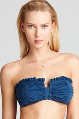 Betsey Johnson Shirr Delight Ruffle Bandeau Bikini Top - Lyst