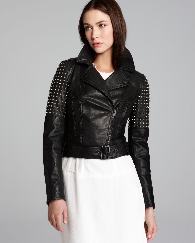 burberry brit valletort leather moto jacket with studs in black lyst. Black Bedroom Furniture Sets. Home Design Ideas