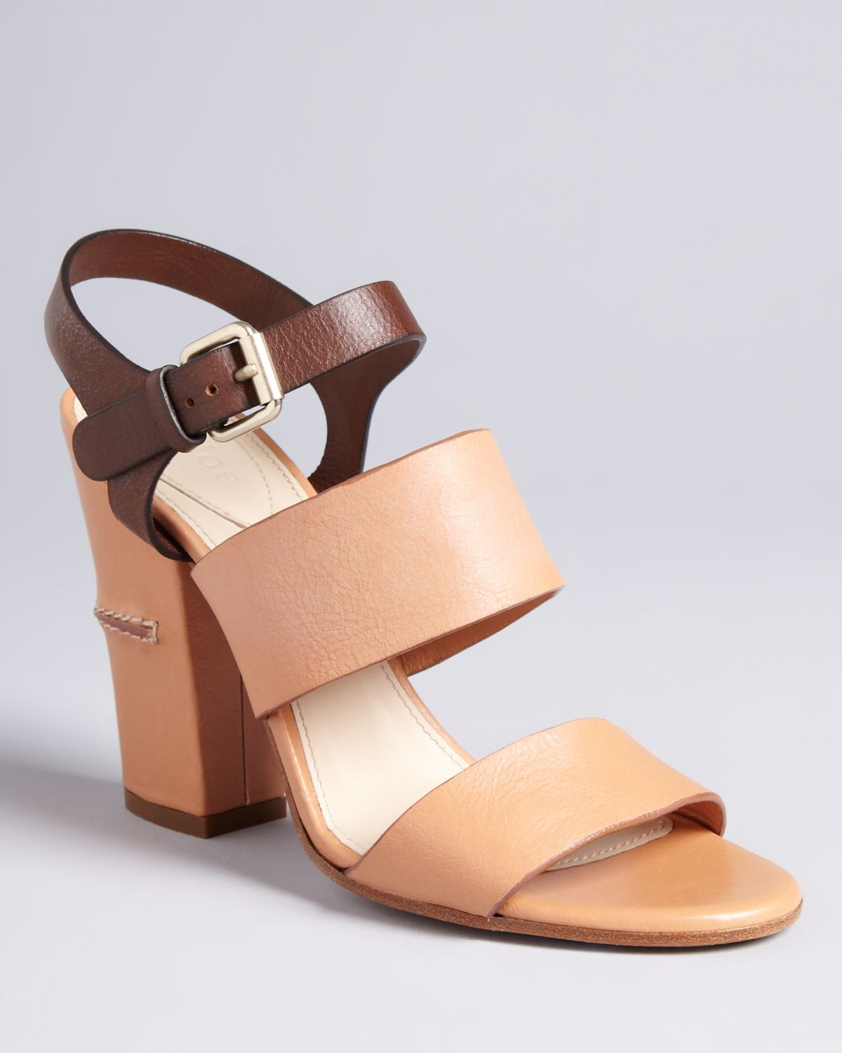 b81059b1b6f Chloé Cork Block Sandals Two Tone High Heel in Natural - Lyst