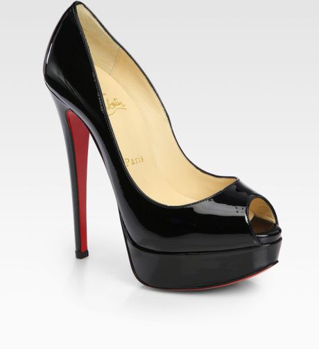 Christian Louboutin Lady Peep Patent Leather Platform Pumps in Black (NUDE) - Lyst