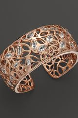 Di Modolo Rose Plated Open Weave Rock Crystal Cuff - Lyst