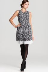 DKNY Audrey Lace Print Pleated V Neck Dress - Lyst