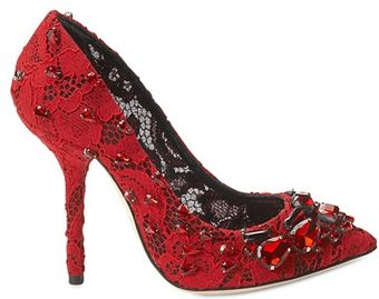 Dolce & Gabbana 105mm Bellucci Lace Crystal Pumps - Lyst