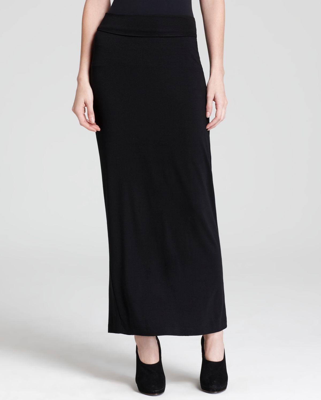 Eileen fisher Foldover Maxi Straight Skirt in Black | Lyst