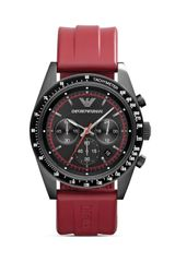 Emporio Armani Tazio Black Watch with Red Rubber Strap 43mm - Lyst