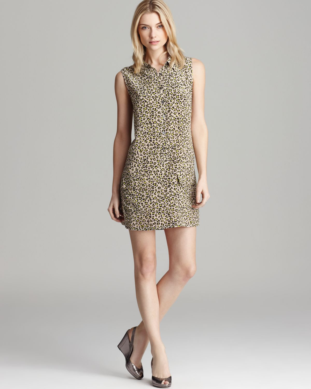 6a73697ed94f0f Lyst - Equipment Leopard Print Dress Sleeveless Lucida in Natural