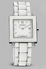 Fendi Timepiece Womens White Ceramic Quardro Watch with Diamonds - Lyst