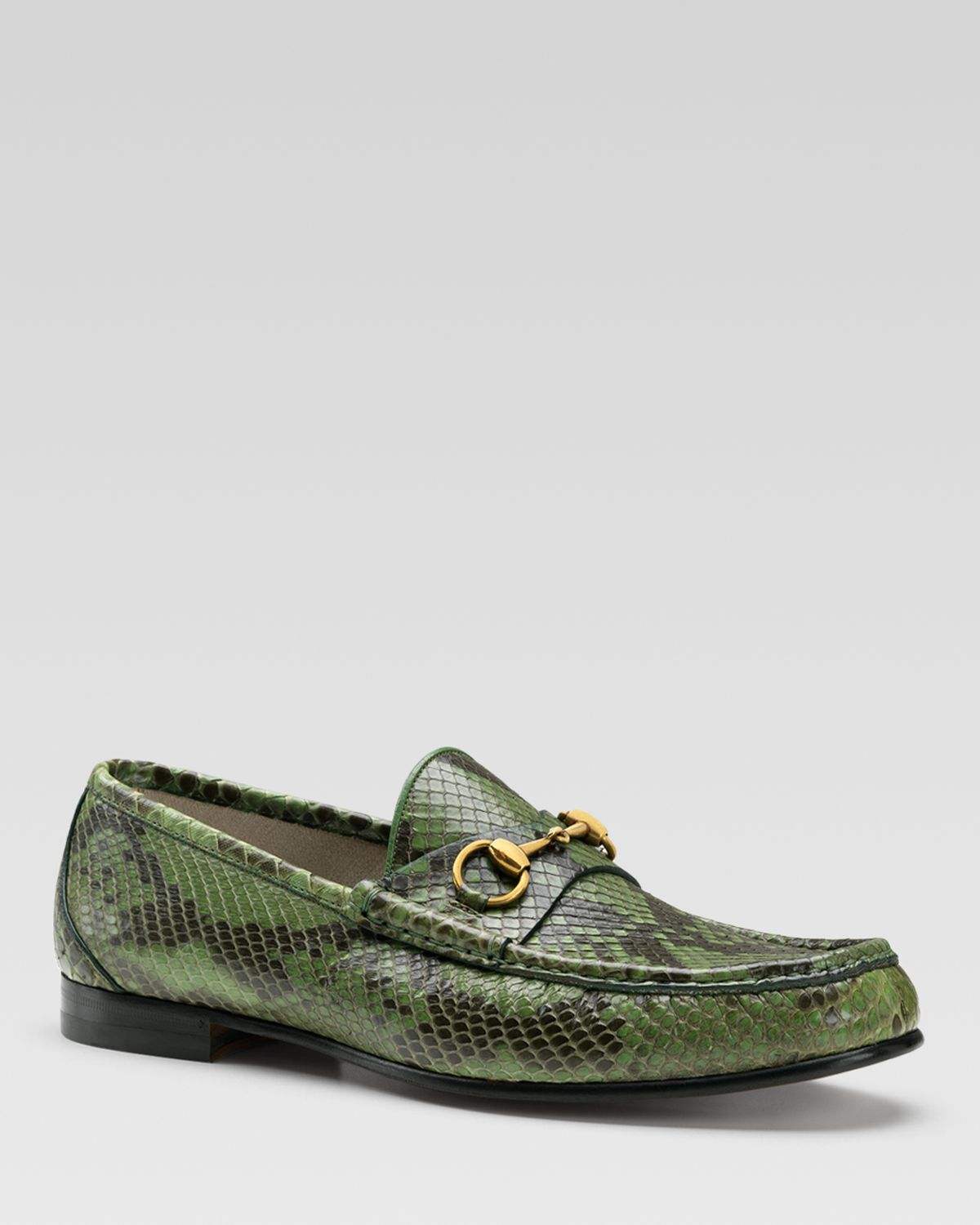 46d0424b1 Gucci Python Horsebit Loafers in Green for Men - Lyst