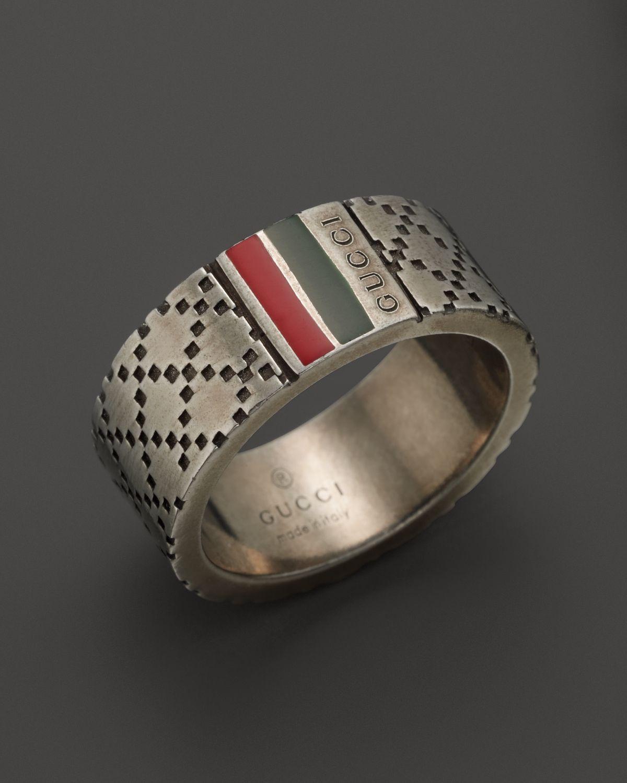 90190dd13d8 Lyst - Gucci Aged Sterling Silver and Enamel Diamantissima Motif 8mm ...