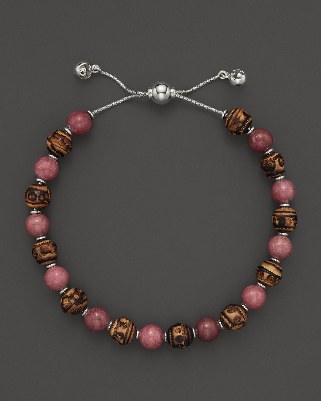 Lyst Gucci Bamboo Rhodonite Beaded Bracelet In Pink