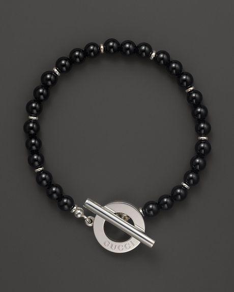 Gucci Sterling Silver Black Chalcedony Boule Bracelet In