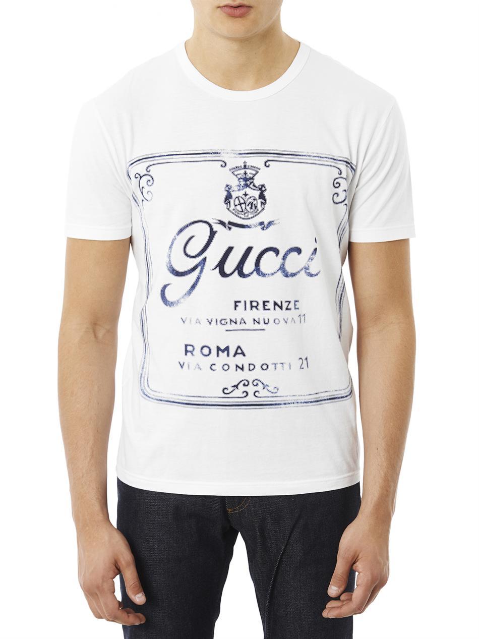 Lyst Gucci Cartiglio Logo Print T Shirt In White For Men