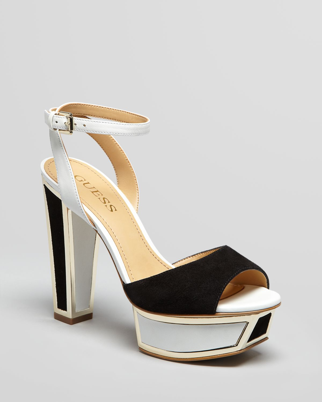 dbeaada476247 Lyst - Guess Peep Toe Platform Sandals Barta High Heel in White