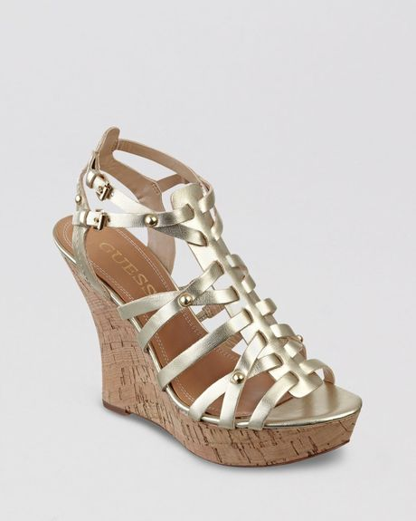 guess platform wedge sandals bilbery in gold lyst