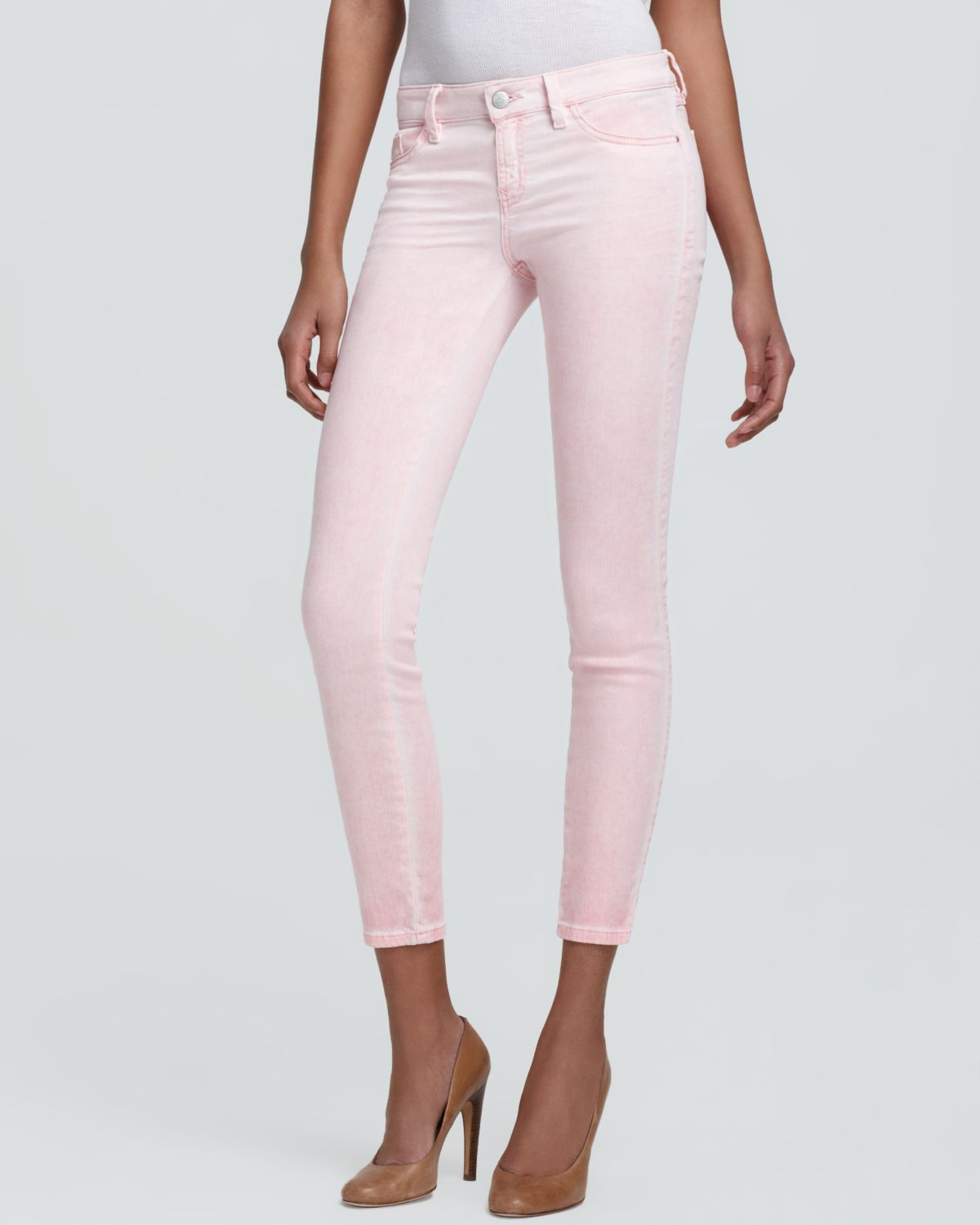 lyst guess jeans brittney skinny ankle in pink
