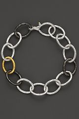 Gurhan Pure Silver and 24 Kt Gold Hoopla Link Bracelet - Lyst