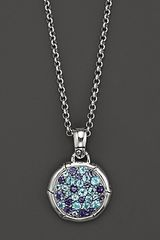 John Hardy Bamboo Silver Lagoon Colorway Small Round Pendant with Swiss Blue Topaz and Iolite On Chain Necklace 18 - Lyst