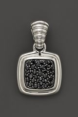 John Hardy Bedeg Sterling Silver and Black Sapphire Lava Large Square Drop Pendant - Lyst