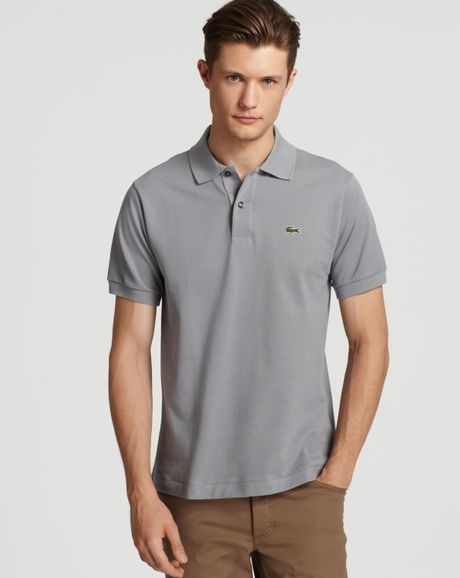 Lacoste classic short sleeve piqu polo shirt in gray for for Lacoste big and tall polo shirts