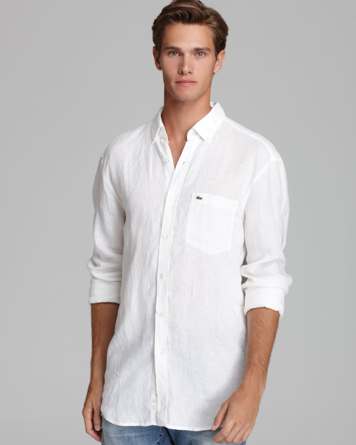 Excellent Lyst - Lacoste Linen Sport Shirt Classic Fit in White for Men BW07