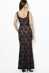 Lauren By Ralph Lauren Scoop Neck Lace Dress in Black (black/nude) - Lyst