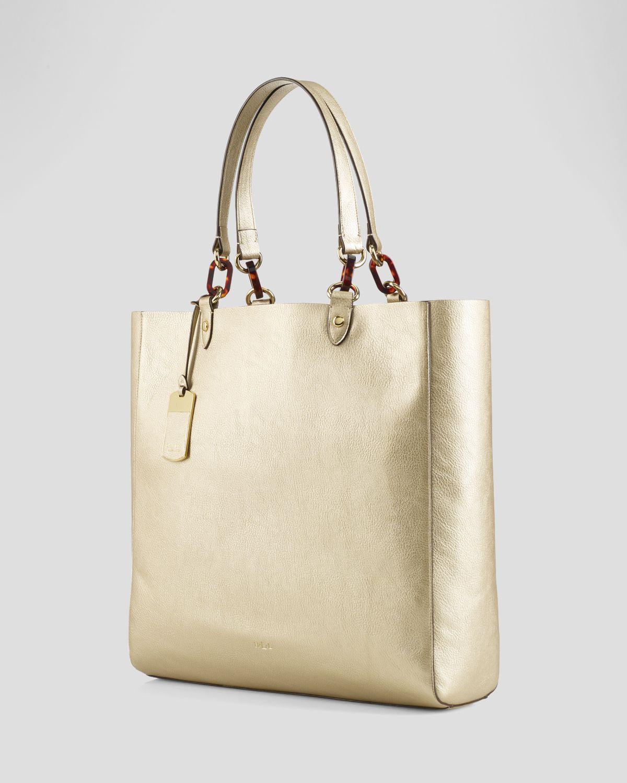 e4ef2aa607 Lyst - Lauren by Ralph Lauren Tote Metallic Bembridge in White