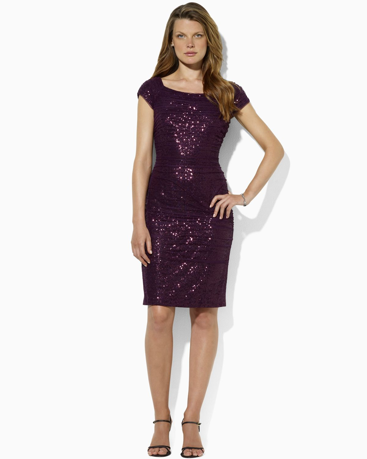 Wedding Purple Sequin Dress lauren by ralph open neck sequin dress in purple lyst gallery