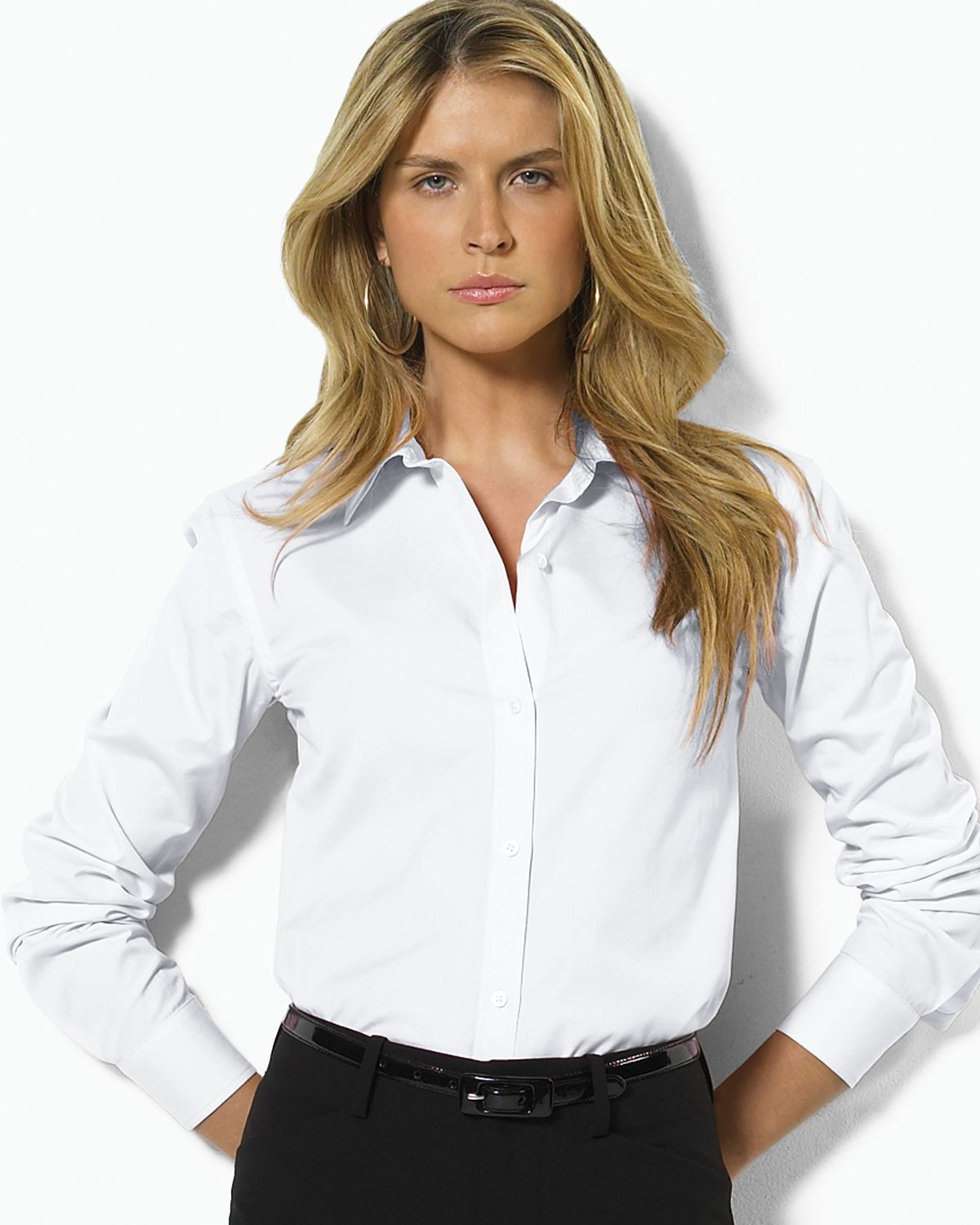 Ralph Lauren Lauren Petites Non Iron Dress Shirt in White