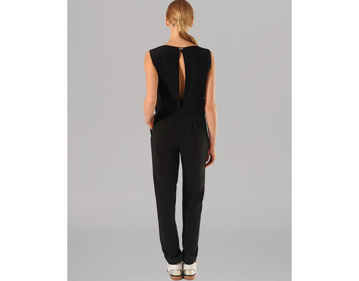 bf2f91b3060 Lyst - Maje Jumpsuit Adrenaline Sheer Front in Black