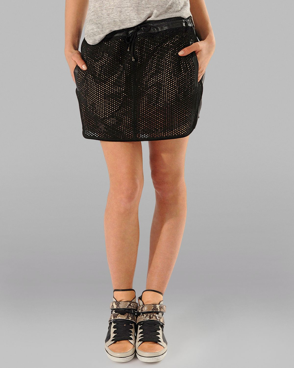 maje leather skirt astrayo perforated in black lyst
