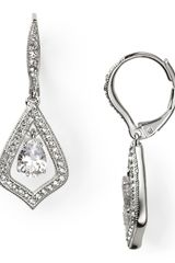 Nadri Silver and Crystal Drop Earrings - Lyst