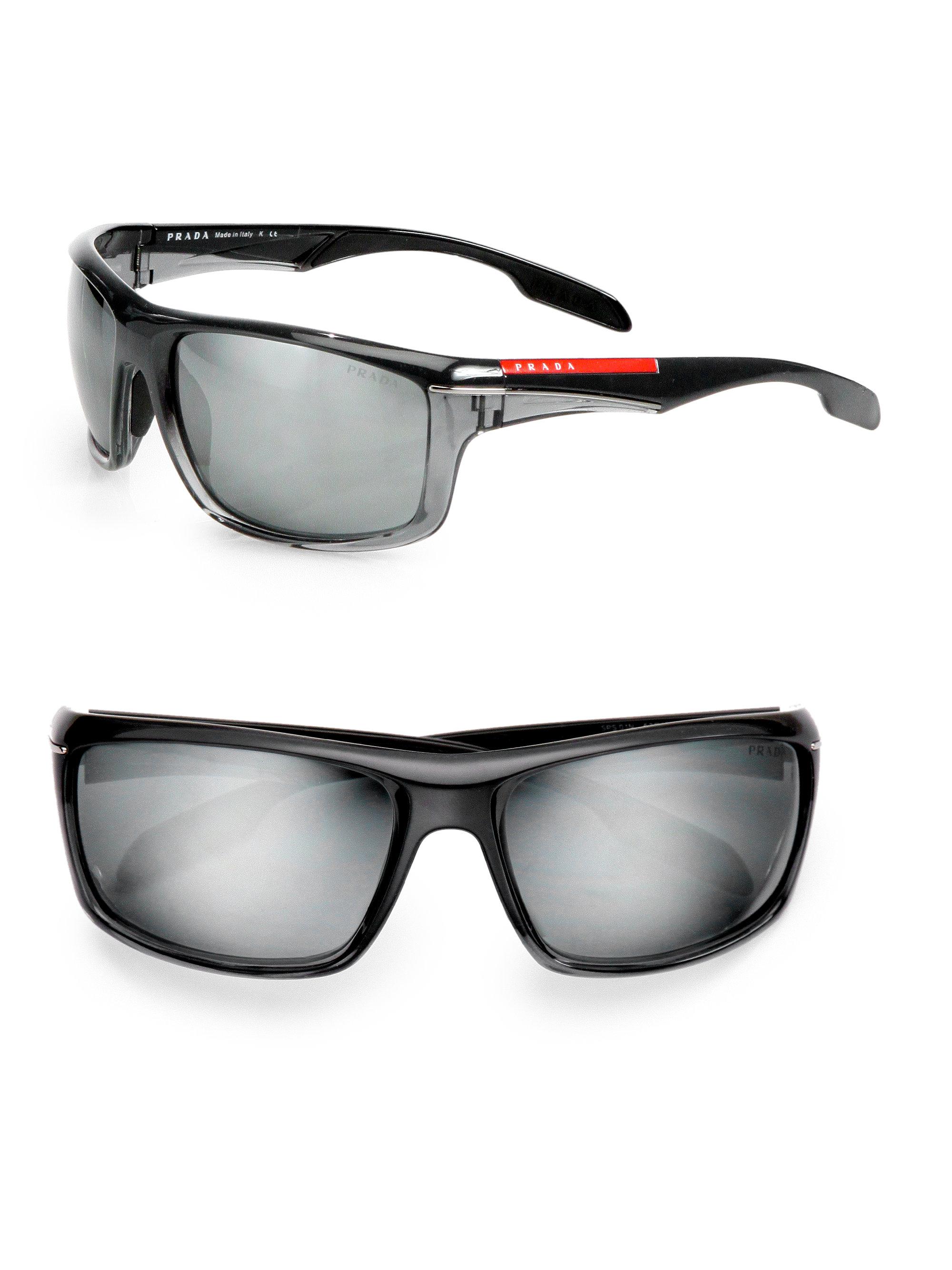 fbb8e707da ... shop prada sport wrap sunglasses in black for men lyst 481d5 c7a15
