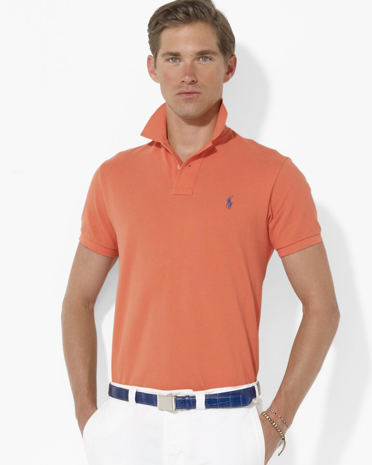 Ralph Lauren. Men\u0026#39;s Orange Polo Customfit Shortsleeved Cotton Mesh Polo