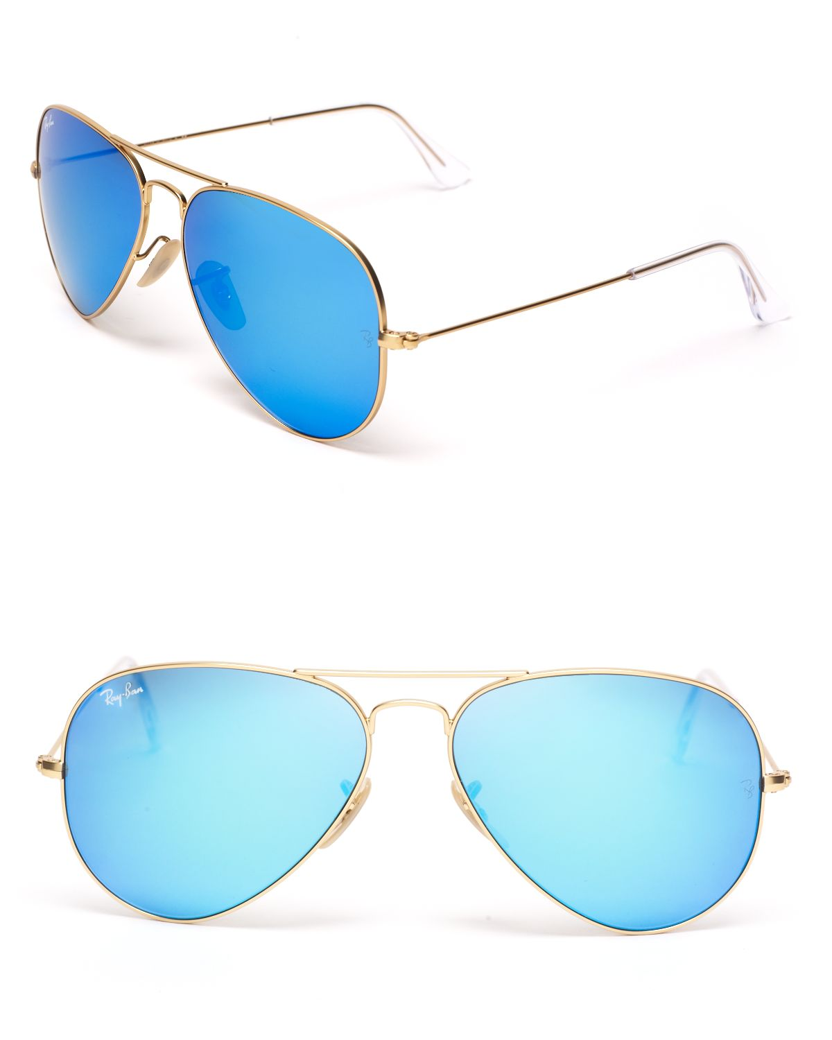 Ray ban mirror aviator sunglasses in blue matte gold blue for Ray ban aviator verre miroir