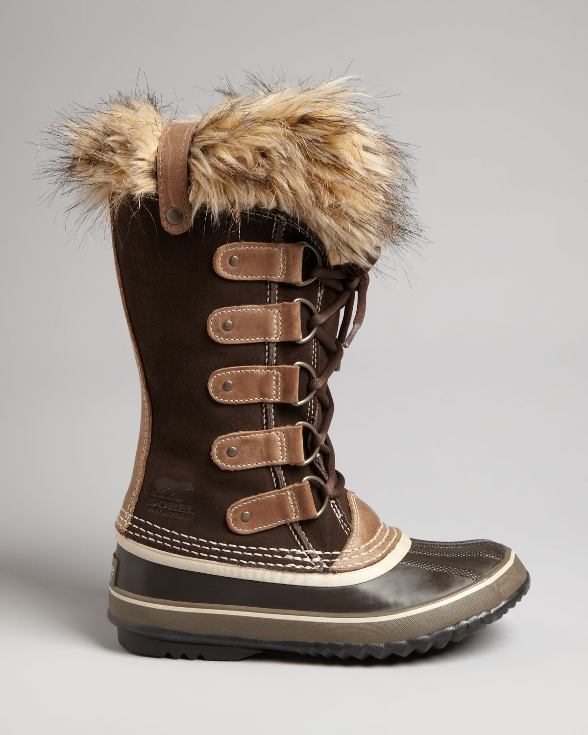lyst sorel joan of arctic tall boots with faux fur in brown. Black Bedroom Furniture Sets. Home Design Ideas