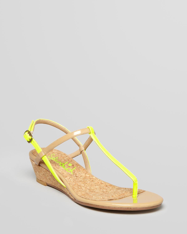 Splendid Edgewood T Strap Demi Wedge Sandals In Yellow