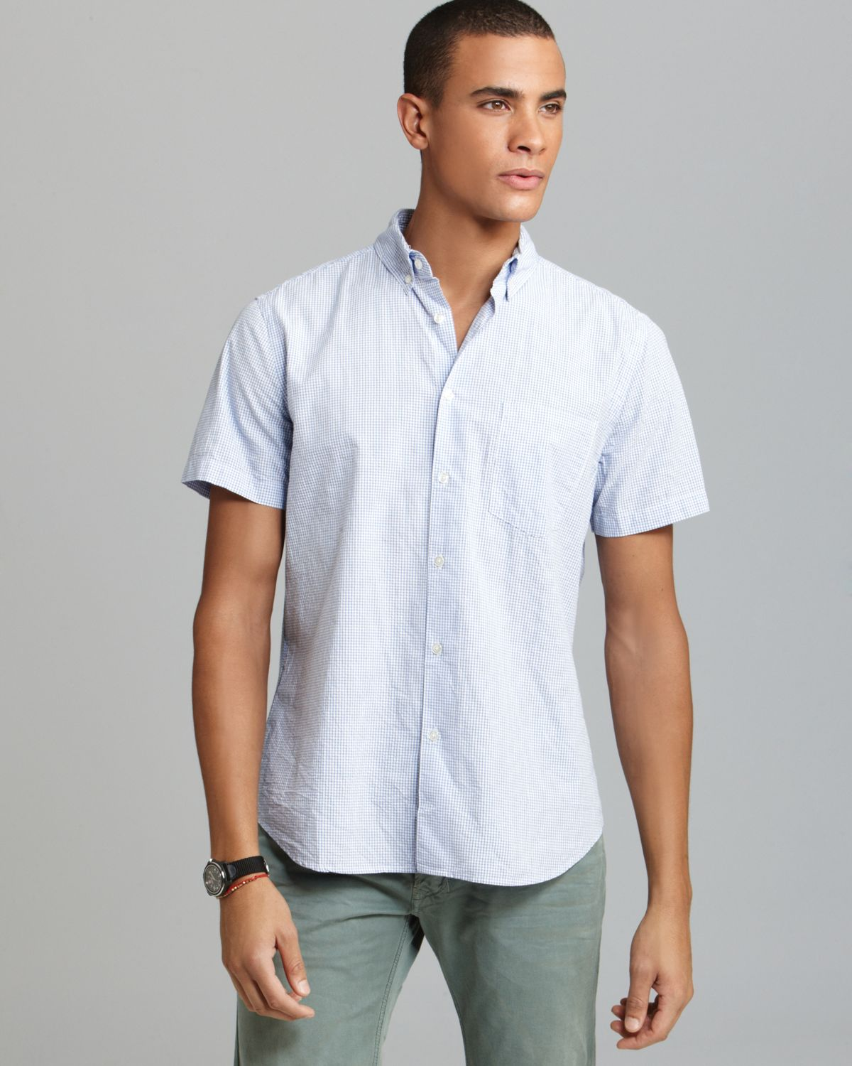 lyst steven alan single needle seersucker short sleeve button down shirt classic fit in blue. Black Bedroom Furniture Sets. Home Design Ideas