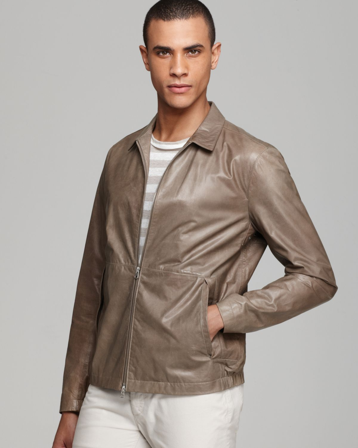 Theory Ion Lightweight Leather Jacket in Gray for Men | Lyst