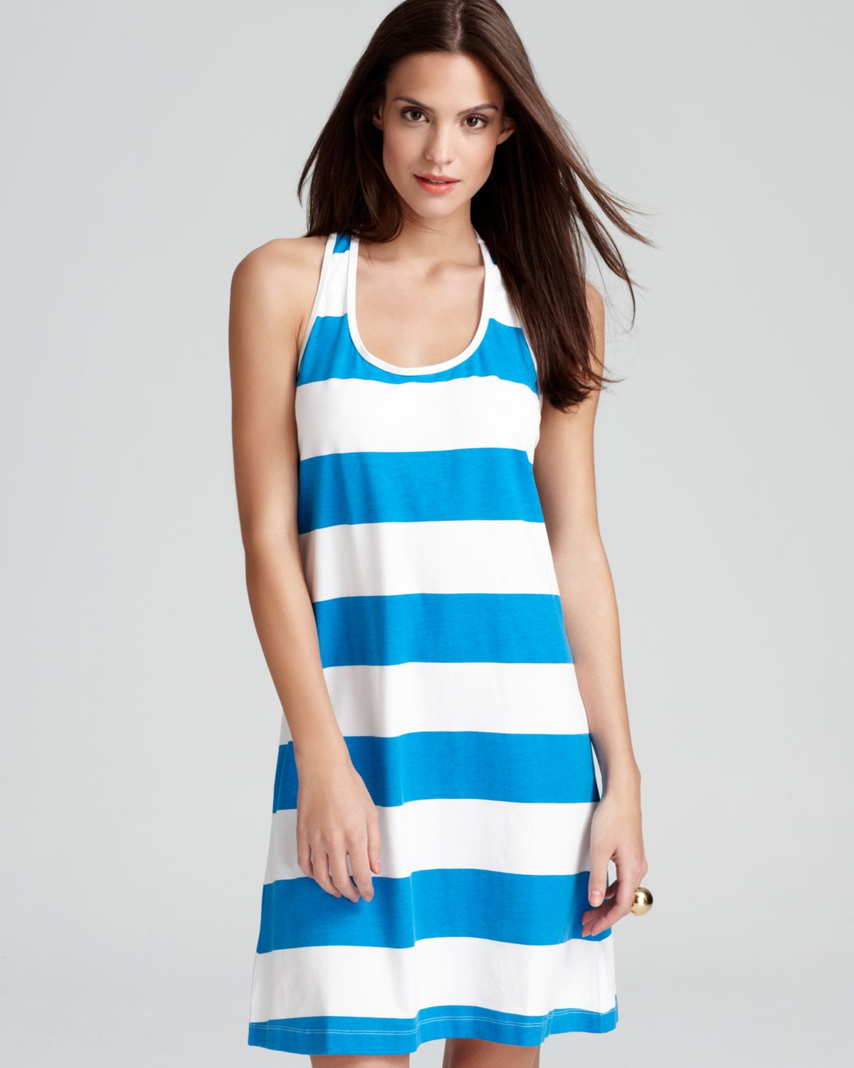 43b0820c3 Tommy Bahama Big Stripe Short Tank Swimsuit Cover Up Dress in Blue ...