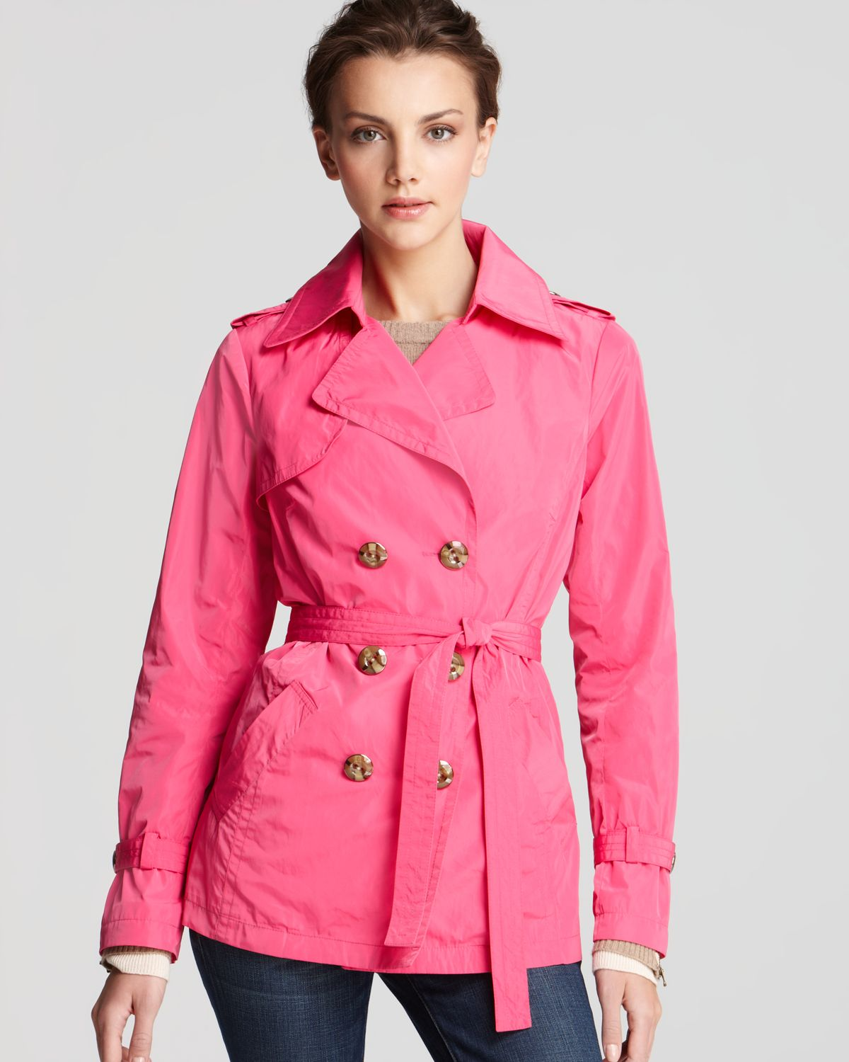 Trina turk Homage Classic Short Trench Coat in Pink | Lyst
